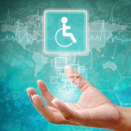 holography: Disabled Symbol om hand,medical background