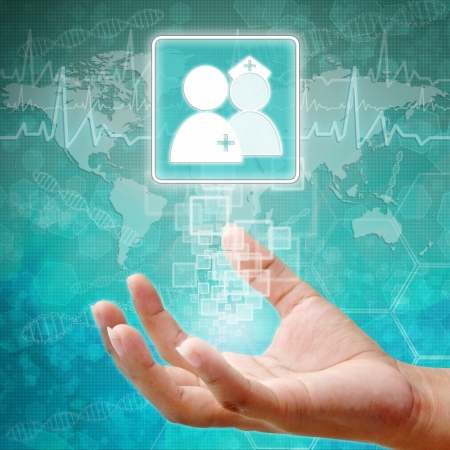 holography: Doctors and Nurse Symbol on hand, medical background