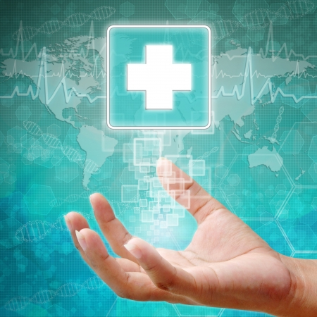 holography: First Aid Symbol on hand, medical background
