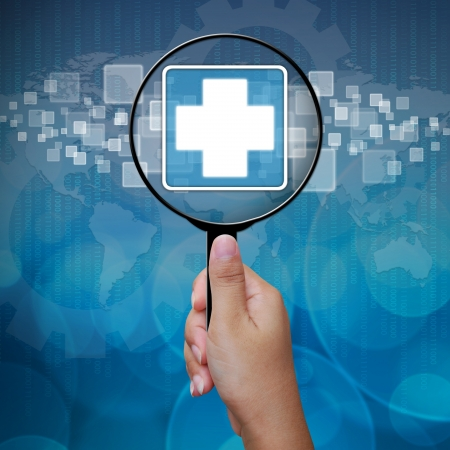 holography: First Aid icon in Magnifying glass on blue background