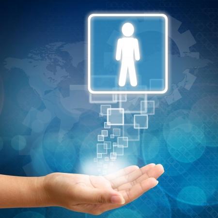 Employé de la personne droit dans la main sur fond bleu abstrait business couleur Banque d'images - 16712744