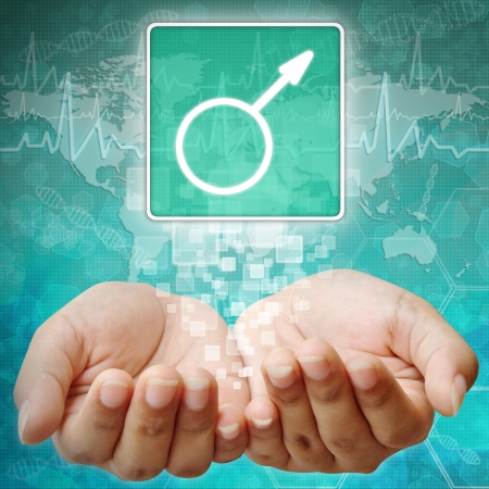 holography: Male Symbol on hand ,medical background Stock Photo