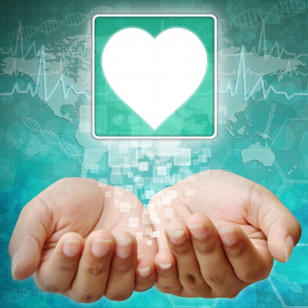 Heart Symbol on hand , medical background photo