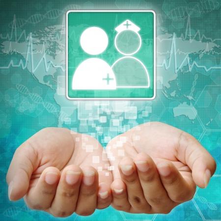 holography: Hospital Symbol on hand ,medical background