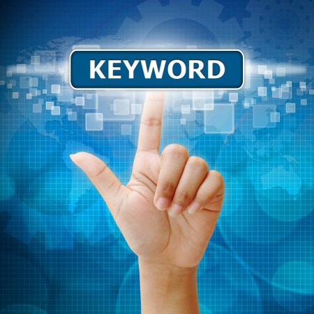 Hand woman press on touch screen keyword seo button Stock Photo - 17933833