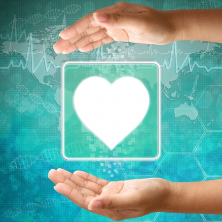 Medical icon Heart in hand Stock Photo - 18122163