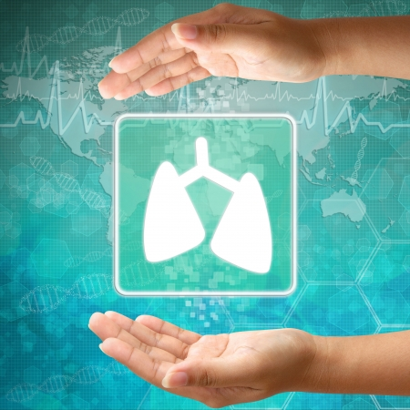 Medical icon Lung in hand Stock Photo - 18122169