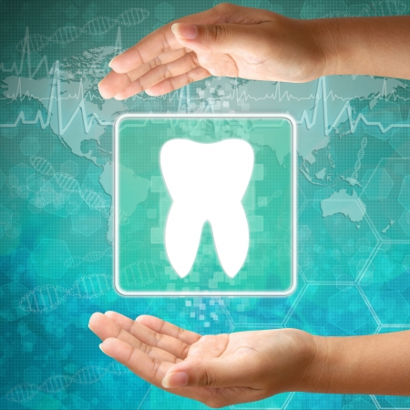 Medical icon Tooth in hand Stock Photo - 18122168