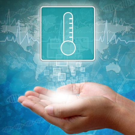 Medical icon Thermometer in hand Stock Photo - 18366778