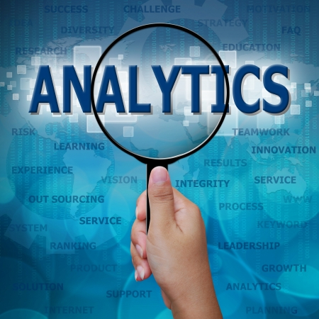 planning process: ANALYTICS in Magnifying glass on blue background