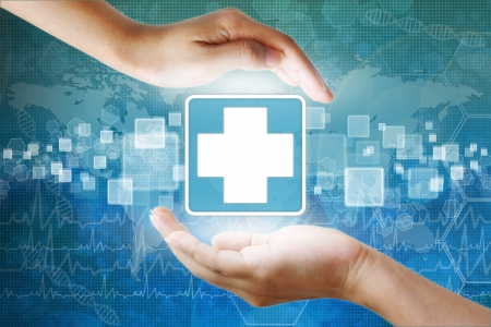 health icons: medical icon,First Aid in hand Stock Photo