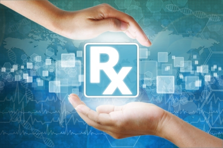 pc health: medical icon, Prescription symbol in hand