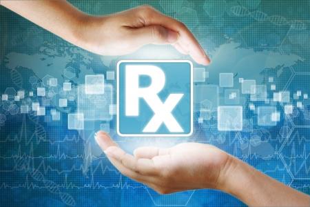 holography: medical icon, Prescription symbol in hand