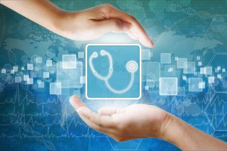 equipos medicos: médica icono, símbolo receta en mano Foto de archivo