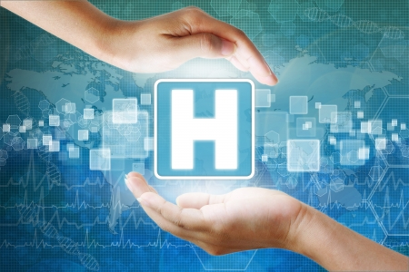 holography: medical icon, Hospital symbol in hand