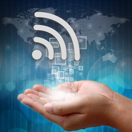 wifi symbol on hand Stock Photo - 19110328