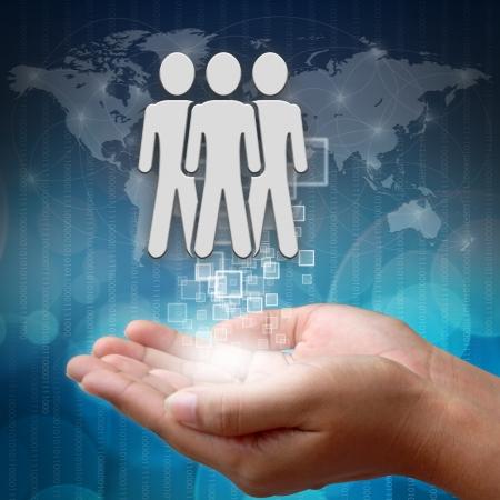 Social people symbol on hand Standard-Bild