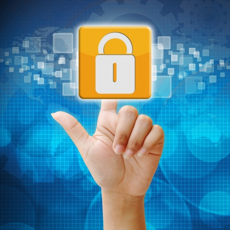 security lock: In press security icon on touch screen interface