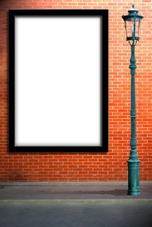 lamp post: Lamp post street and blank billboard on brick wall Stock Photo