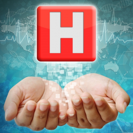 holography: Hospital  icon on hand ,medical background