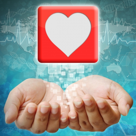 holography: Heart icon on hand ,medical background