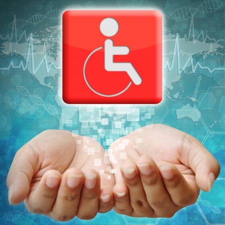holography: Disabled icon on hand ,medical background Stock Photo
