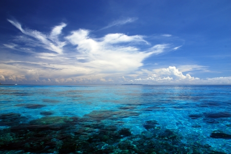 similan islands: Blue Sea with coral reef and fluffy clouds from tachai island in Thailand