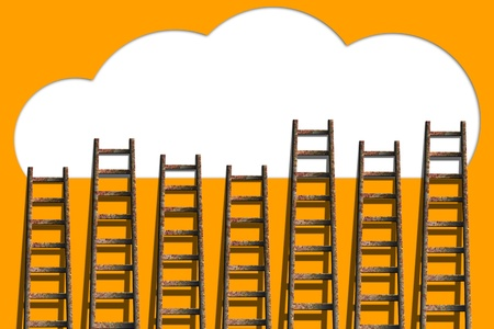 Clouds with ladders on orange wall  ,competition concept photo