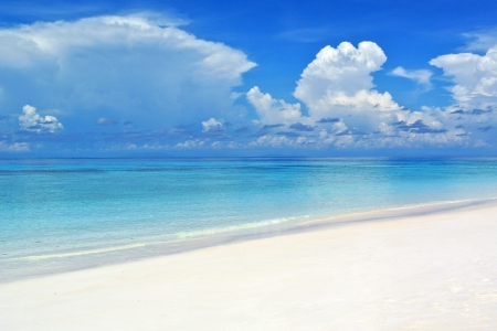 similan islands: Beautiful blue sea ,blue sky from tachai island in Thailand Stock Photo