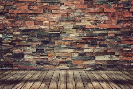Empty Wood Floor And Brick Wall For Vintage Wallpaper Stock Photo