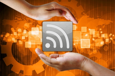 wifi symbol in hand business background photo