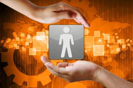 Employé de la personne droit dans la main sur Résumé des affaires Banque d'images - 20996363
