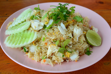 crabmeat: Fried rice with crabmeat., Thai Style Stock Photo