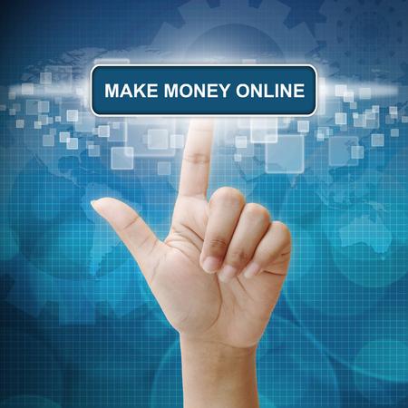 money online: Hand woman press on touch screen interface Make Money Online button