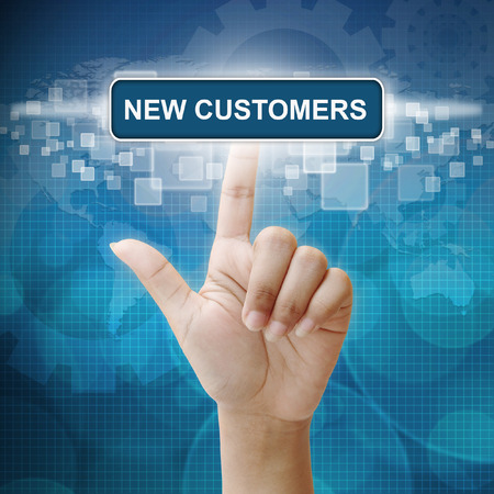 hand press: Hand woman press on touch screen interface New Customer button Stock Photo