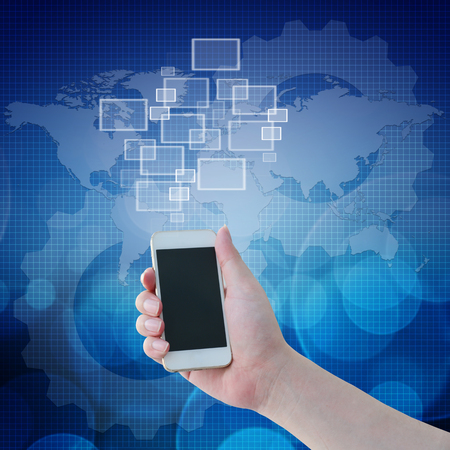 emty: Hand holding mobile phone with emty icons in front of technologies background Stock Photo