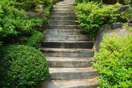 stone steps: Wood stair way on green garden Stock Photo