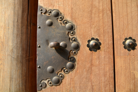 door handles: Old wooden Door Stock Photo