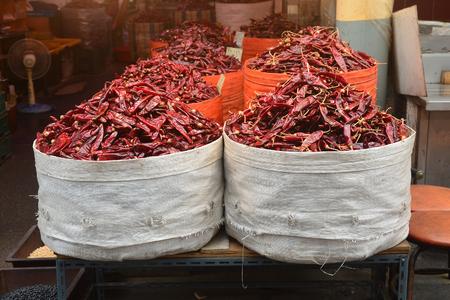Poivron rouge sur le marché asiatique Banque d'images