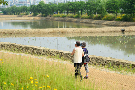 Couple senior jogging sur une route forestière à l'automne Banque d'images