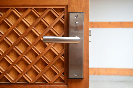 Electronic lock on door in luxury resort