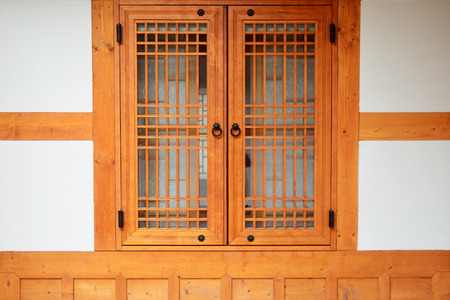 Wooden window korean style in South Korea.