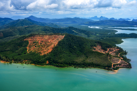 Beauty island in Thailand from above, as seen on window through of an aircraft Stock Photo