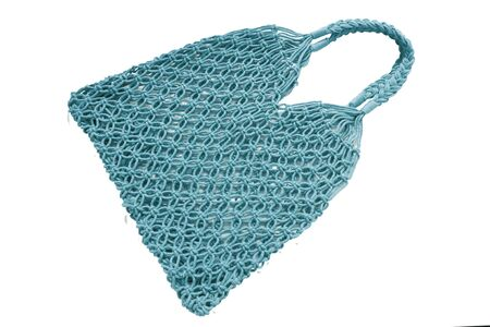 Reusable string shopping eco mesh bag Isolated on wgite background. Concept no plastic, zero waste and eco frendly. Zdjęcie Seryjne