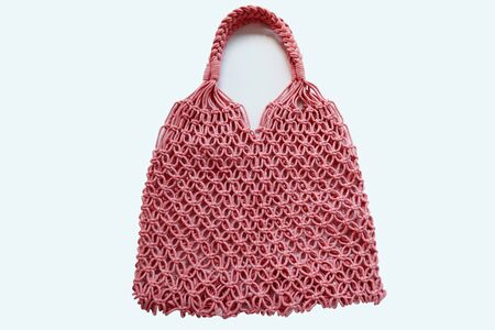 Reusable string shopping eco mesh bag Isolated on wgite background. Concept no plastic, zero waste and eco frendly. with clipping path
