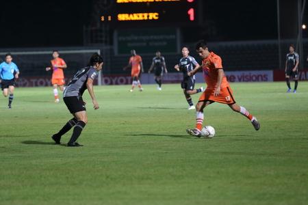 premierleague: BANGKOK, THAILANDIA-8 marzo Thai Premier League tra FC Sisaket e Bangkok United in Thai stadio giapponese l'8 marzo 2014 a Bangkok, Thailandia Editoriali