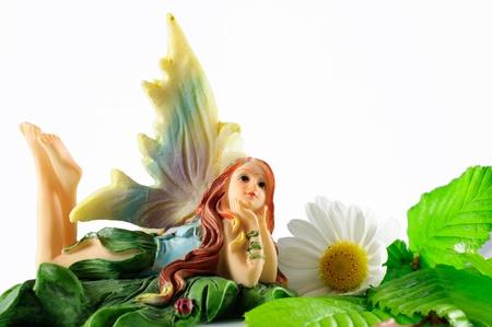 summer fairy on white backgriund photo