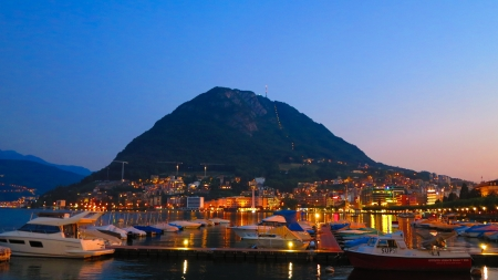 night time Lugano photo