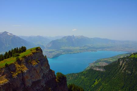 eiger: Panorama with alpine meadow from Niederhorn  Switzerland on summer