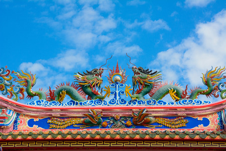Beautiful Chinese dragon with blue sky photo